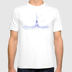 Watercolor landscape illustration_Eiffel Tower MEDIUM White Mens Fitted Tee