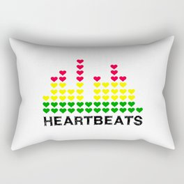HeartBeats (Black) Rectangular Pillow
