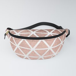 Geometric faux rose gold foil triangles pattern Fanny Pack