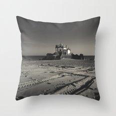 Beach Chapel (B&W) Throw Pillow