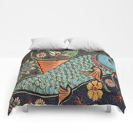 bohemian folk art orange aqua blue japanese good luck koi fish Comforters