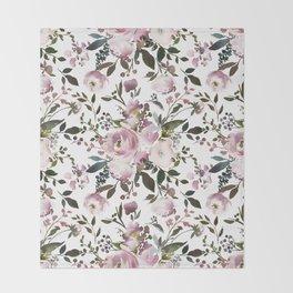 Blush rose pink green watercolor elegant floral Throw Blanket