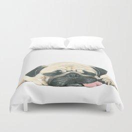 Nap Pug, Dog illustration original painting print Duvet Cover