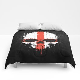 Flag of England on a Chaotic Splatter Skull Comforters