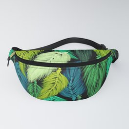 Watercolor Macrame Feather Toss in Black + Green Fanny Pack