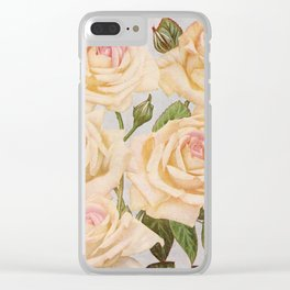 Vintage White Rose Painting (1920) Clear iPhone Case