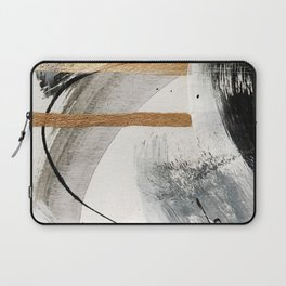 Armor [7]: a bold minimal abstract mixed media piece in gold, black and white Laptop Sleeve