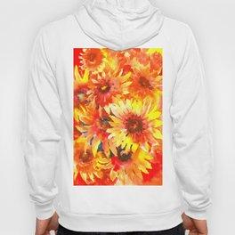Blanket Flowers Bright Orange, Red, Yellow Flowers Hoody