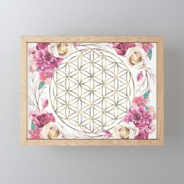 Flower of Life Rose Garden Gold Framed Mini Art Print