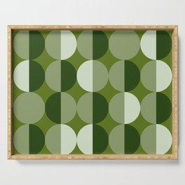 Retro circles grid green Serving Tray