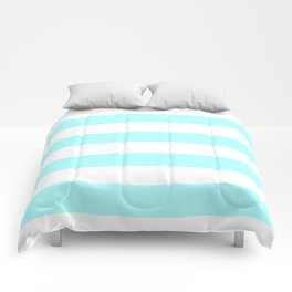 Horizontal Stripes - White and Celeste Cyan Comforters