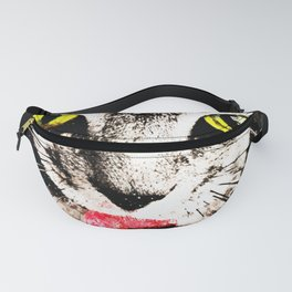 cat kitty licks licking paws perfectly Fanny Pack
