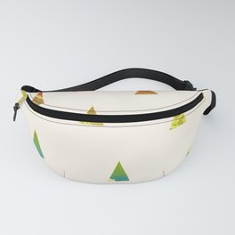 Geometrical pink yellow teal blue watercolor ombre triangles Fanny Pack