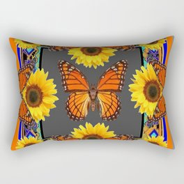 Western Grey & Orange Monarch Butterflies  sunflower Patterns Art For t Rectangular Pillow