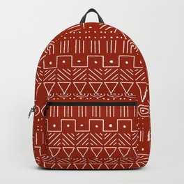 Mudcloth Style 1 in White on Red Backpack