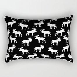 Moose Trot // Black Rectangular Pillow