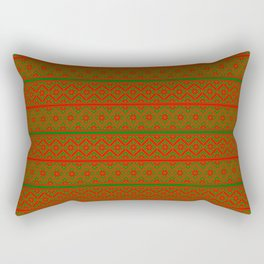 Red and Green Classic Nordic Christmas Pattern Rectangular Pillow