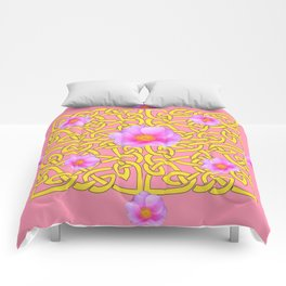 Decorative Yellow Celtic Pattern Pink-Coral  Rose Art Comforters