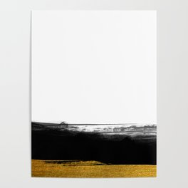 Black and Gold grunge stripes on clear white background - Stripe - Striped Poster
