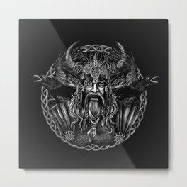Odin and his ravens Huginn and Muninn Metal Print