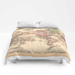 1861 World Map - Johnson's World on Mercators Projection Comforters