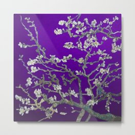 Vincent van Gogh Blossoming Almond Tree (Almond Blossoms) Amethyst Sky Metal Print
