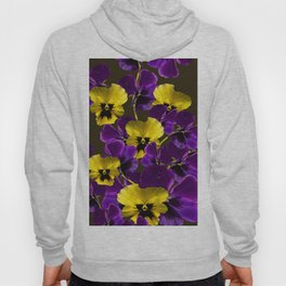 Purple And Yellow Flowers On A Dark Background #decor #buyart #society6 Hoody