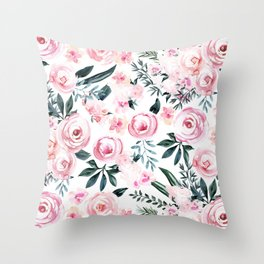 Floral Rose Watercolor Flower Pattern Throw Pillow