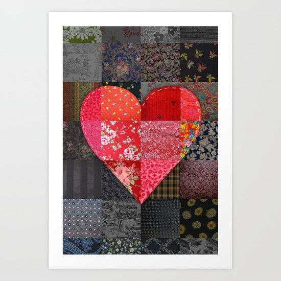Patched Heart Art Print