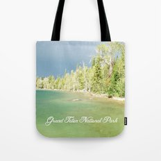 Grand Teton National Park. Landscape photography of lake and trees. Tote Bag