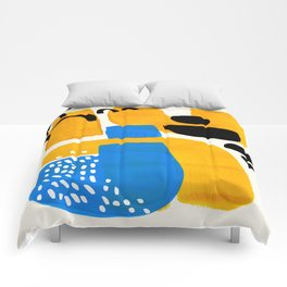 Mid Century Modern abstract Minimalist Fun Colorful Shapes Patterns Ikea Yellow & Blue Comforters