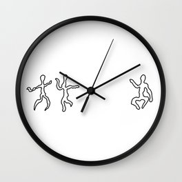 Dancing figures in black and white Wall Clock
