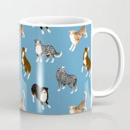 Australian Shepherd Pattern (Blue Background) Coffee Mug