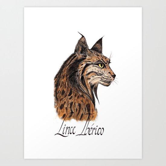 Iberian Lynx Profile Art Print