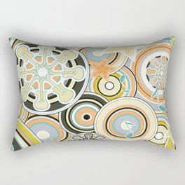 Seventies Bohemian Rock Inspired Geometric Circles and Stars in Navy and Green Rectangular Pillow