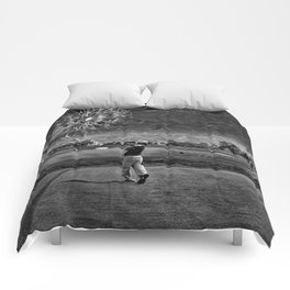 Broken Glass Sky - Black and White Version Comforters