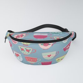 China Teacups on Teal Fanny Pack