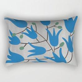 Blue Bell Flowers on Silver Background – Blue Bell – Scandinavian Folk Art Rectangular Pillow