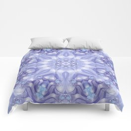 Light Blue, Lavender & White Floral Mandala Comforters