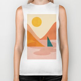 Abstraction_Lake_Sunset Biker Tank