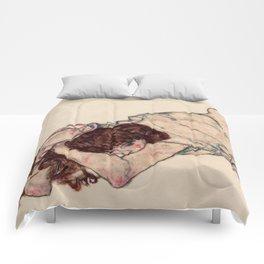 "Egon Schiele ""Kneeling Girl, Resting on Both Elbows"" Comforters"