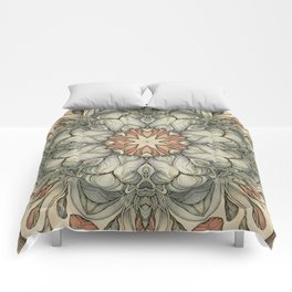 abstract flowers hand drawn and  kaleidoscope mandala Comforters