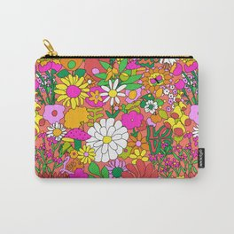 60's Groovy Garden in Neon Peach Coral Carry-All Pouch