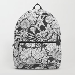 Vintage bohemian black white roses country floral Backpack
