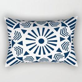 Circle pattern navy blue on white sun Rectangular Pillow