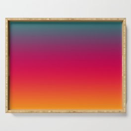Poseidon - Classic Colorful Warm Abstract Minimal Retro Style Color Gradient Serving Tray