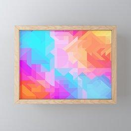Bright Geometric Colorful Bold Abstract Pattern (Bubblegum Pink, Orange, Yellow, Cyan Blue) Framed Mini Art Print