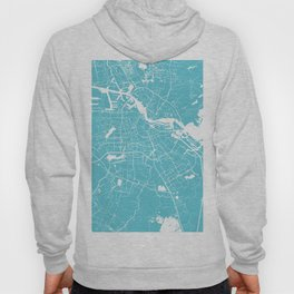 Amsterdam Turquoise on White Street Map Hoody
