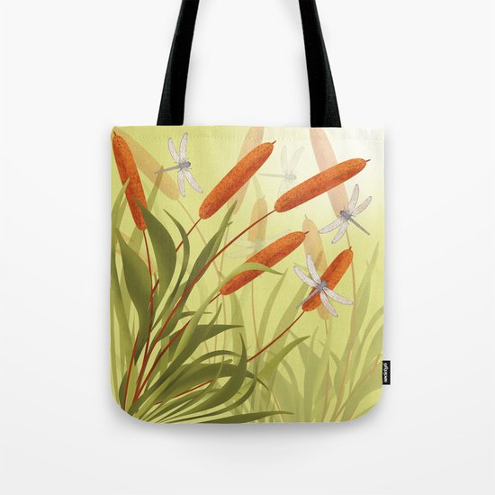 the reeds and dragonflies on the rising sun background Tote Bag