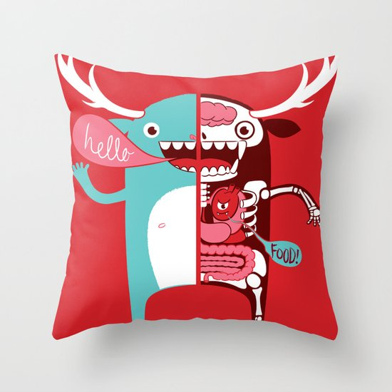 All monsters are the same! Throw Pillow